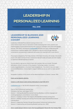 Leadership In Personalized Learning