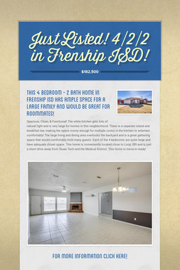 Just Listed! 4/2/2 in Frenship ISD!
