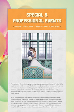 Special & Professional Events