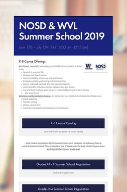 NOSD & WVL Summer School 2019