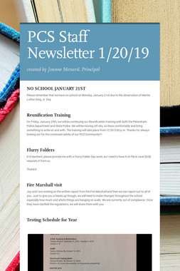 PCS Staff Newsletter 1/20/19