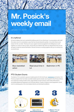 Mr. Posick's weekly email
