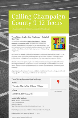 Calling Champaign County 9-12 Teens