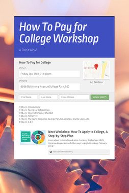 How To Pay for College Workshop