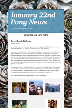 January 22nd Pony News