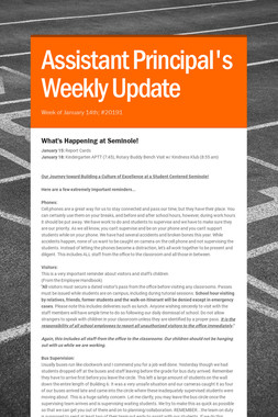 Assistant Principal's Weekly Update