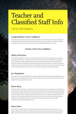 Teacher and Classified Staff Info