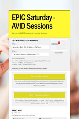 EPIC Saturday - AVID Sessions