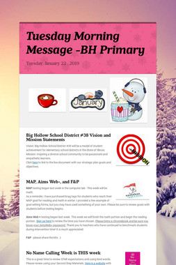 Tuesday Morning Message -BH Primary