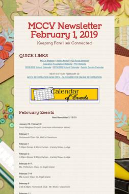 MCCV Newsletter February 1, 2019