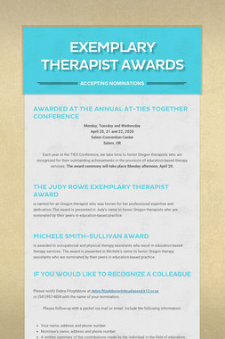 Exemplary Therapist Awards