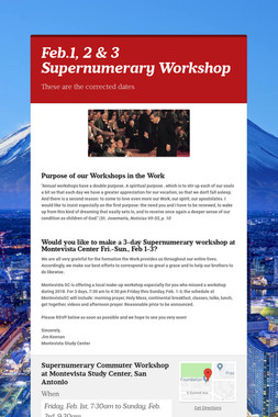 Feb.1, 2 & 3 Supernumerary Workshop