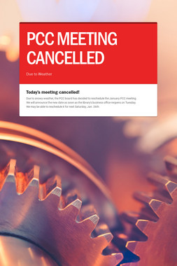 PCC MEETING CANCELLED