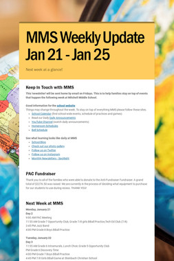 MMS  Weekly Update Jan 21 - Jan 25