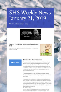SHS Weekly News January 21, 2019