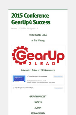 2015 Conference  GearUp4 Success