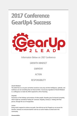 2017 Conference  GearUp4 Success
