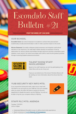 Escondido Staff Bulletin #21