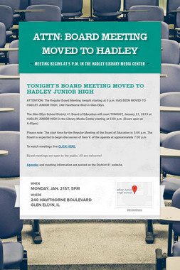 ATTN: BOARD MEETING MOVED TO HADLEY