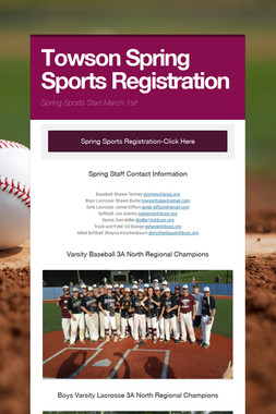 Towson Spring Sports Registration