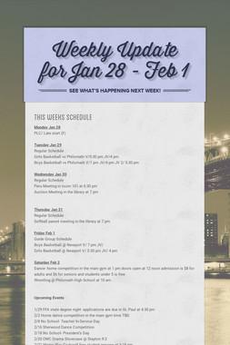 Weekly Update for Jan 28 - Feb 1