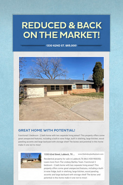 Reduced & Back on the Market!