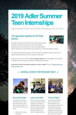 2019 Adler Summer Teen Internships