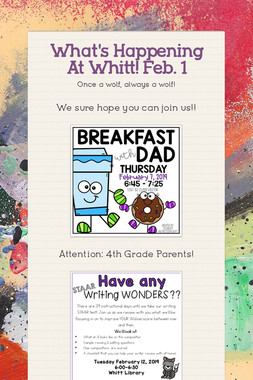 What's Happening At Whitt! Feb. 1