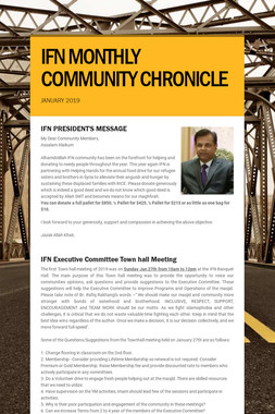 IFN MONTHLY COMMUNITY CHRONICLE
