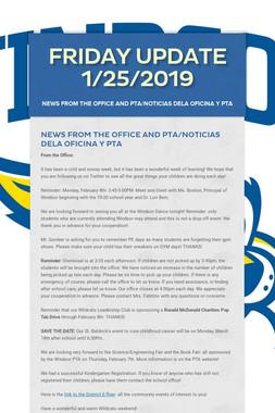Friday Update 1/25/2019