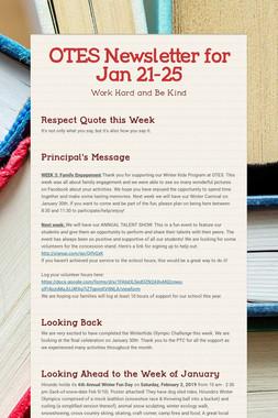 OTES Newsletter for Jan 21-25