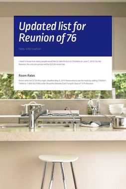 Updated list for Reunion of 76