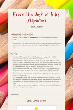 From the desk of Mrs. Stapleton