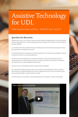 Assistive Technology for UDL
