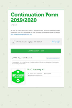 Continuation Form 2019/2020