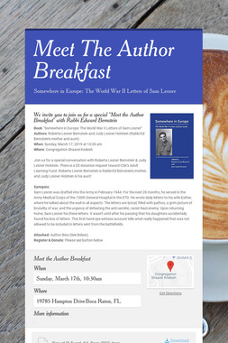 Meet The Author Breakfast