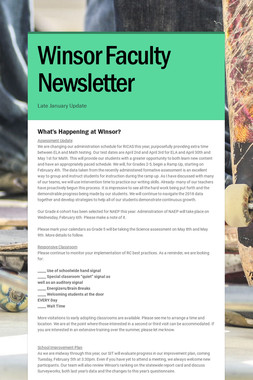 Winsor Faculty Newsletter