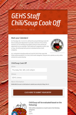 GEHS Staff Chili/Soup Cook Off