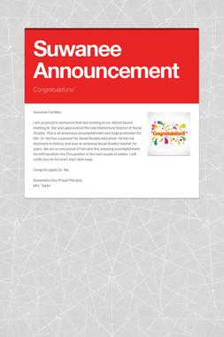Suwanee Announcement