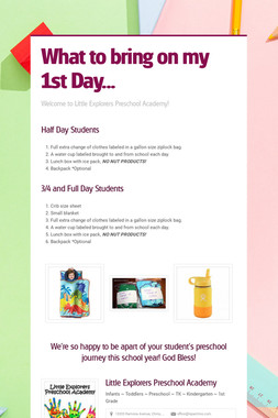 What to bring on my 1st Day...