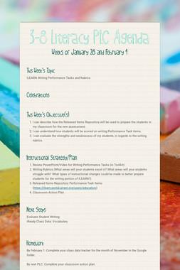 3-8 Literacy PLC Agenda