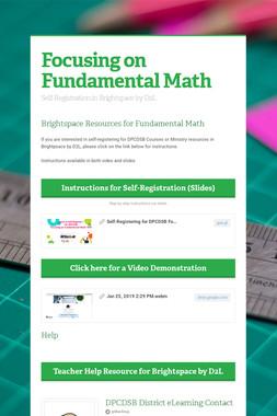 Focusing on Fundamental Math