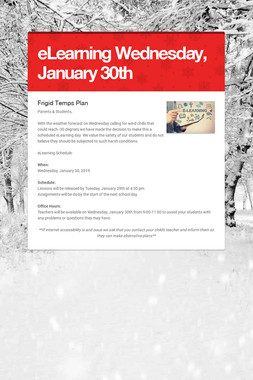 eLearning Wednesday, January 30th