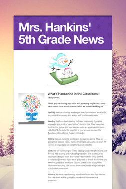 Mrs. Hankins' 5th Grade News