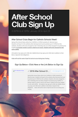 After School Club Sign Up