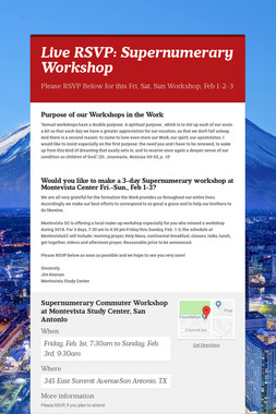 Live RSVP: Supernumerary Workshop