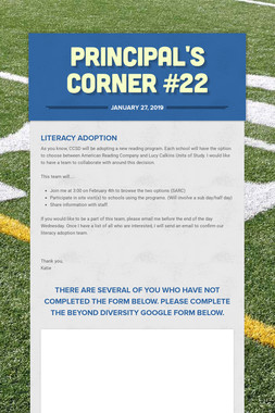 Principal's Corner #22