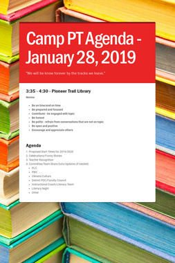 Camp PT Agenda - January 28, 2019