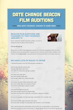 Date Change  Beacon Film Auditions