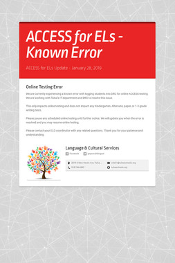 ACCESS for ELs - Known Error